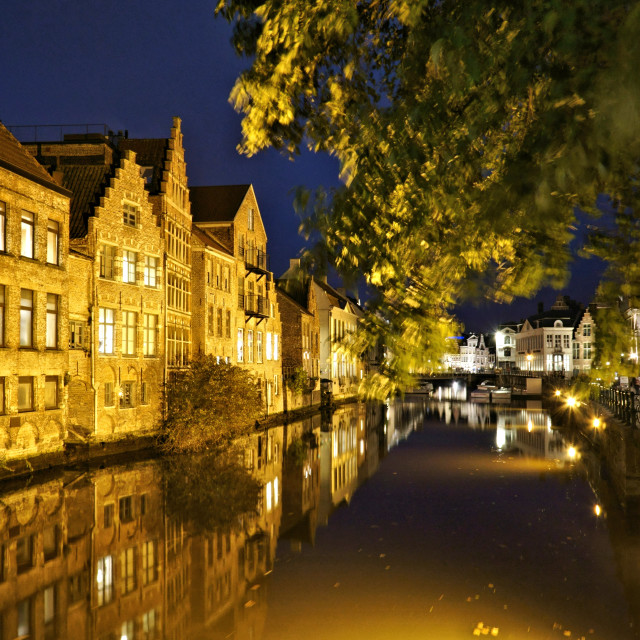 """""""Leie river Gent by night"""" stock image"""