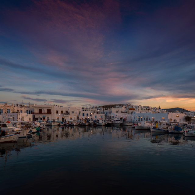 """Colorful Sunset at Naoussa - Paros"" stock image"