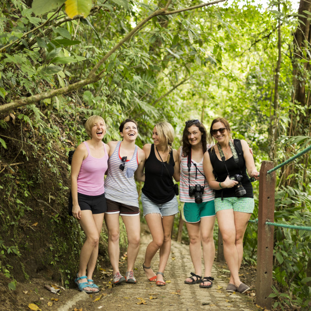 """""""Young women on footpath in forest"""" stock image"""