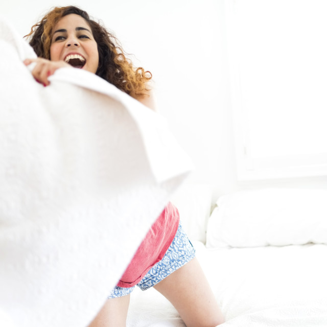 """Pillow fight"" stock image"