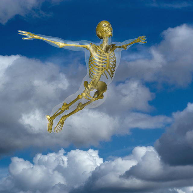 """""""Human skeleton flying amidst clouds"""" stock image"""