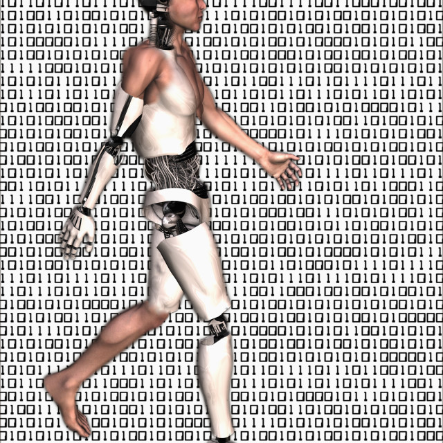 """Cyborg walking on binary code background"" stock image"