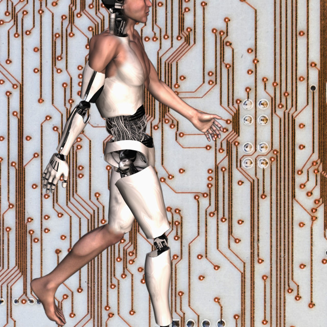 """Cyborg walking on computer chip background"" stock image"