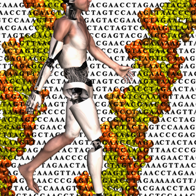 """Cyborg walking on DNA sequence background"" stock image"