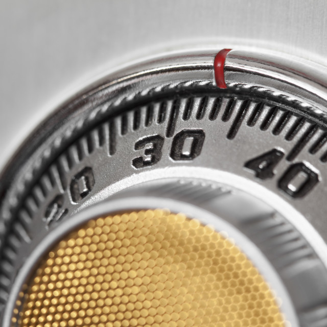 """""""Close-up of safe combination dial"""" stock image"""