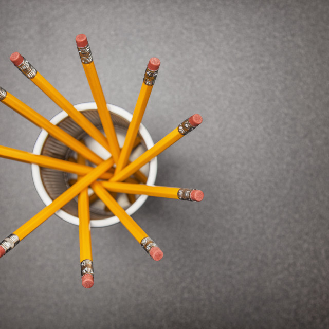 """Studio shot of cup of pencils, directly above"" stock image"
