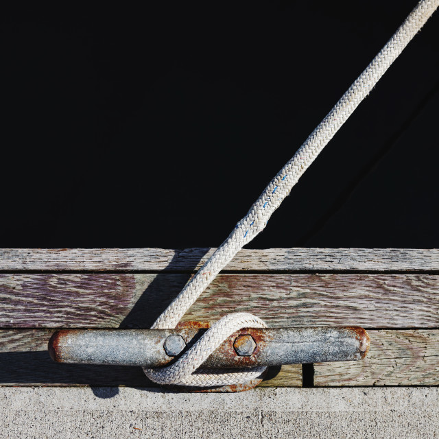 """""""Rope tied to mooring cleat"""" stock image"""