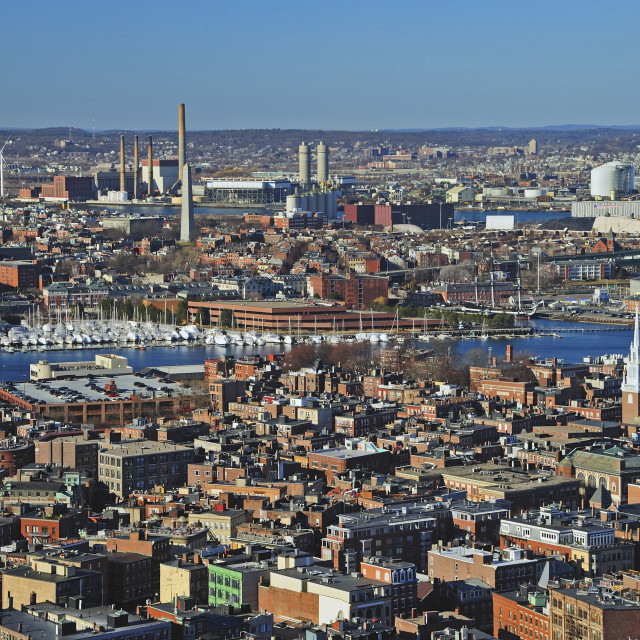 """""""Aerial view of North End and Charlestown areas of Boston"""" stock image"""
