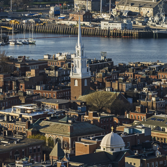 """""""Massachusetts, Boston, Aerial view of North End and Charlestown areas"""" stock image"""