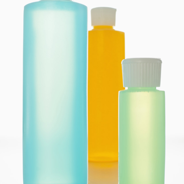 """Toiletries in bottles"" stock image"