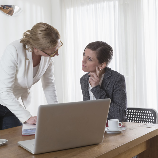 """Businesswomen analyzing documents at office"" stock image"