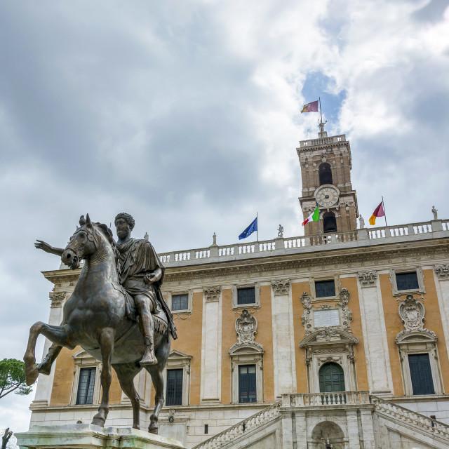 """""""the bronze equestrian statue of Marco Aurelio (Marcus Aurelius)"""" stock image"""