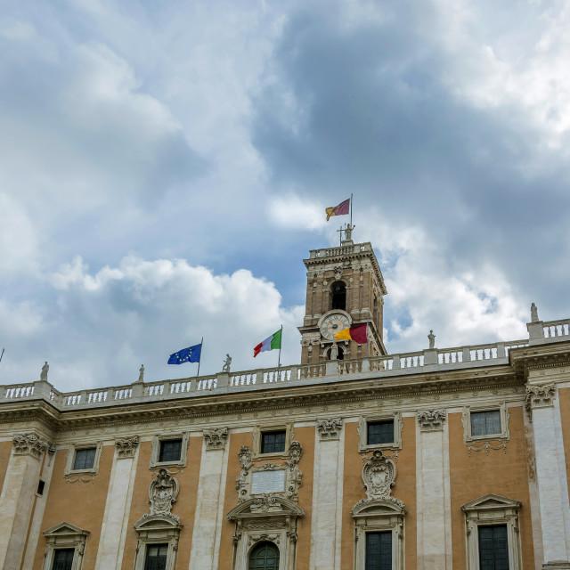 """""""facade of the Senatorial Palace (Palazzo Senatorio) in Rome"""" stock image"""