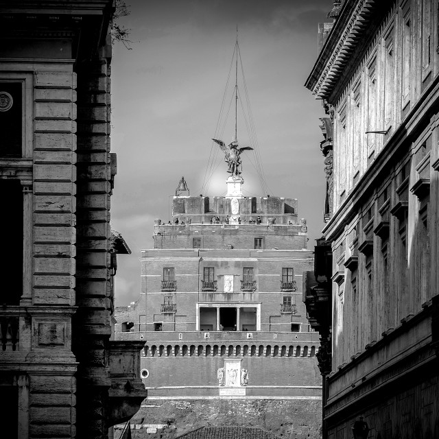 """Facade of the Castel of the Holy Angel (Castel Sant Angelo) in Rome"" stock image"
