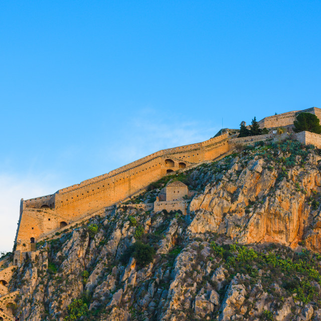 """""""Fortress of Palamidi, a Venetian fort looking over Nafplio town, Peloponnese,..."""" stock image"""