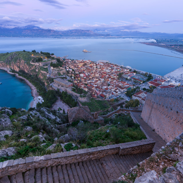 """""""Nafplio old city and bay, from the monumental staircase of Palamidi fortress,..."""" stock image"""