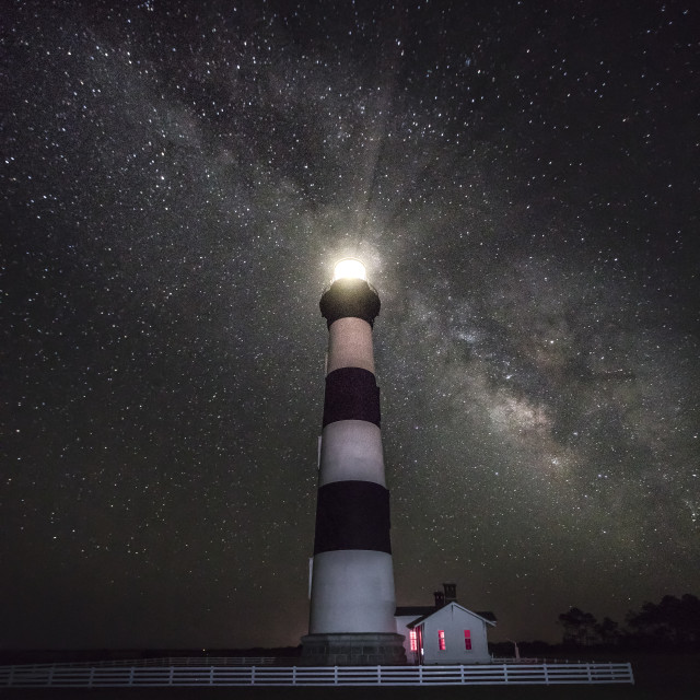 """""""Milky Way at Bodie Island Lighthouse"""" stock image"""