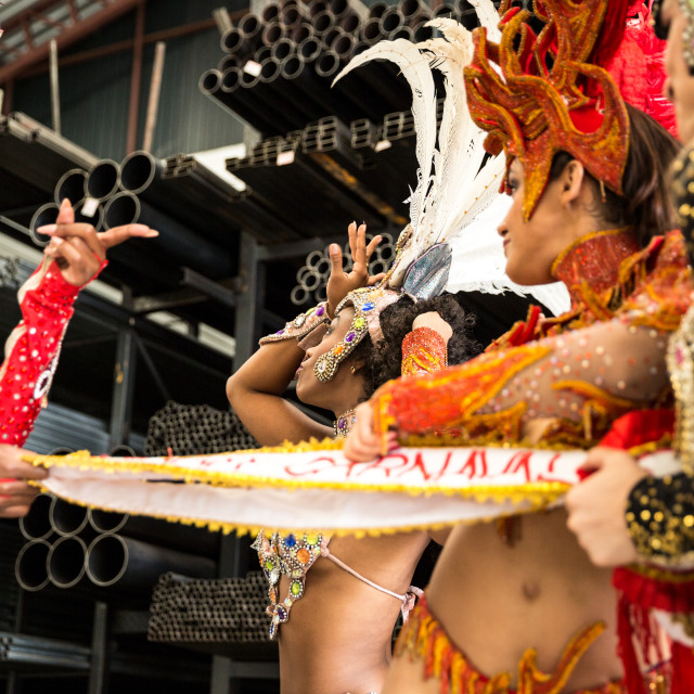 """""""Brazilian women contesting who will be the queen of carnival (Written in Portuguese: Rainha do Carnaval)"""" stock image"""