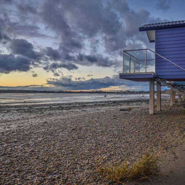 """Beach Hut Sunset"" stock image"