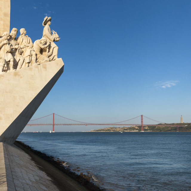 """View of the Tagus River in Lisbon with the Monument to the Discoveries (Padrao dos Descobrimentos) and the 25 of April Bridge on the background; Concept for visit Lisbon"" stock image"