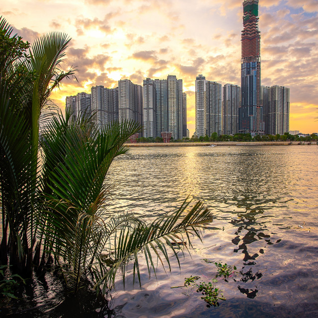 """Vinhomes Central Park Tan Cang sunset Thu Thiem 1 view"" stock image"