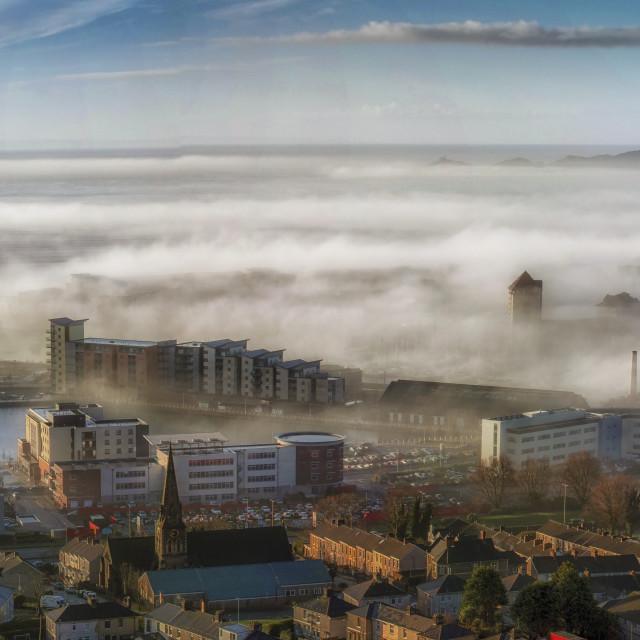"""Foggy Swansea City"" stock image"