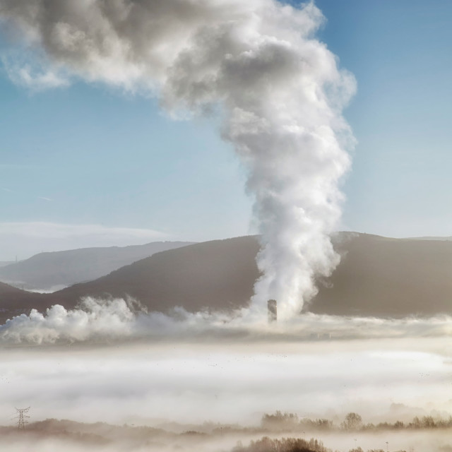 """Baglan Bay power station letting off a bit of steam"" stock image"