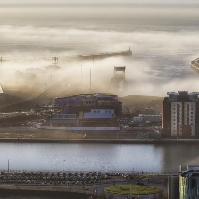 """Swansea docks in the fog"" stock image"