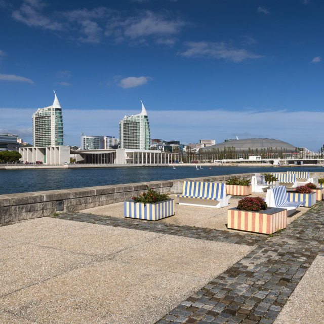 """Modern buildings in the Nations Park (Parque das Nacoes) in Lisbon, Portugal; Concept for visit Lisbon"" stock image"