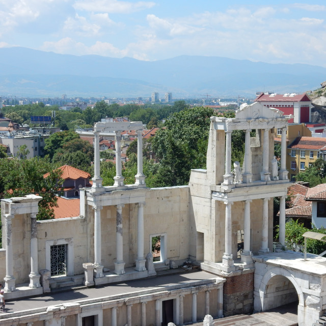 """Plovdiv: View from the Ancient Theatre"" stock image"