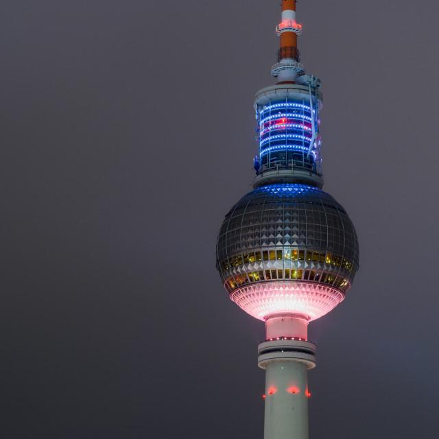 """Berlin Fernsehturm at night"" stock image"