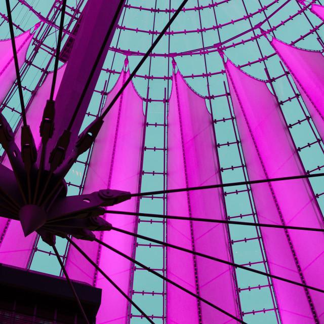 """Detail of Potsdamer Platz Sony Center cupola in Berlin, Germany"" stock image"