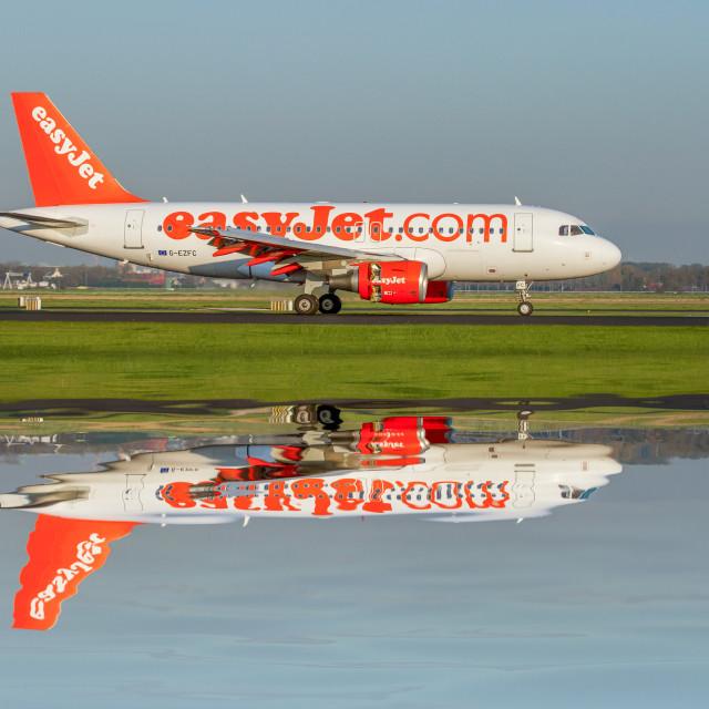 """""""Easyjet reflected"""" stock image"""
