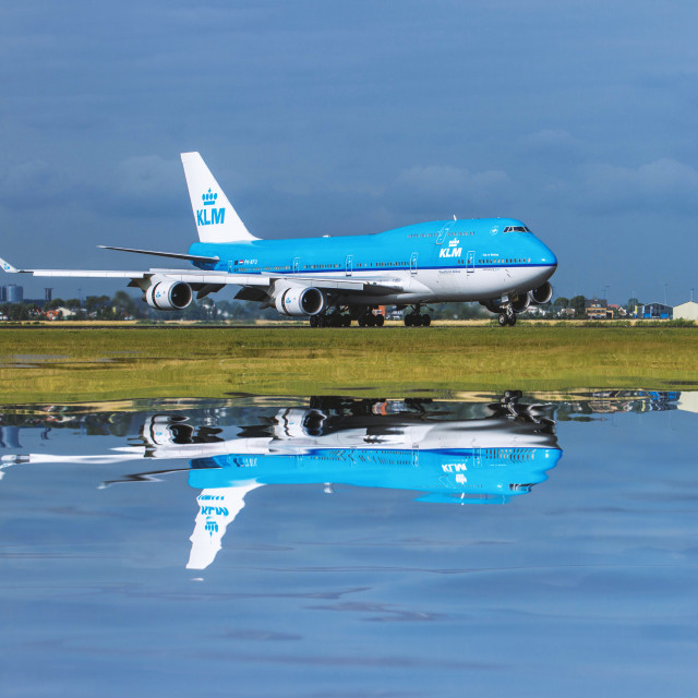 """""""KLM Reflected"""" stock image"""
