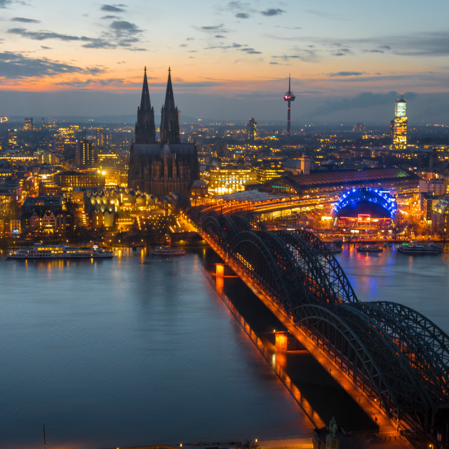 """""""View towards Cologne Cathedral"""" stock image"""