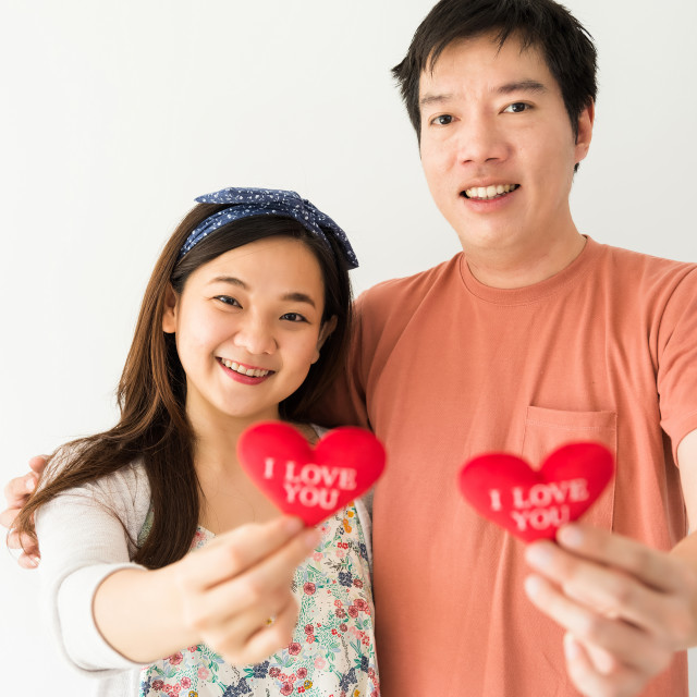"""""""couple hold red heart for valentine"""" stock image"""
