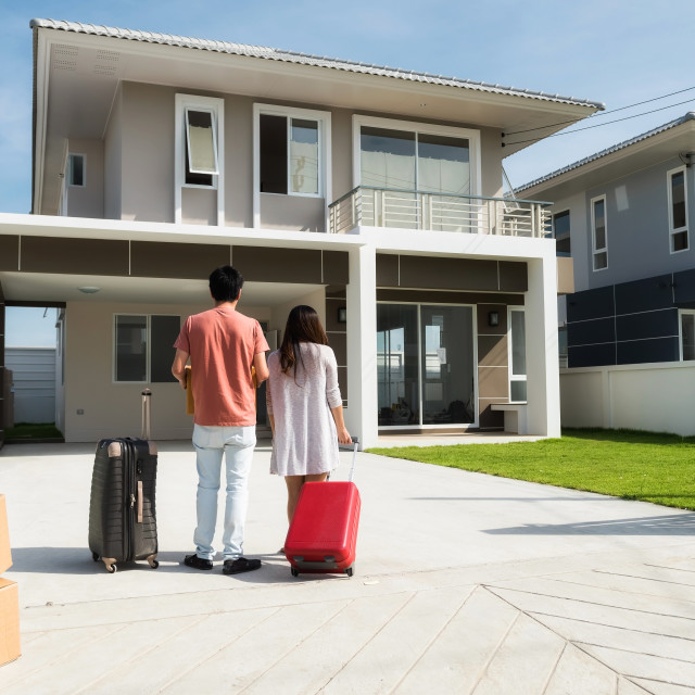 """""""Couple moving to new house"""" stock image"""