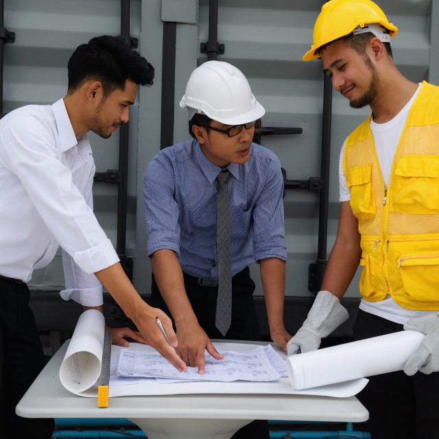 """""""Engineering project plan discussed by team"""" stock image"""