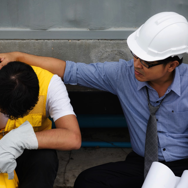 """""""exhausted young foreman at construction site"""" stock image"""