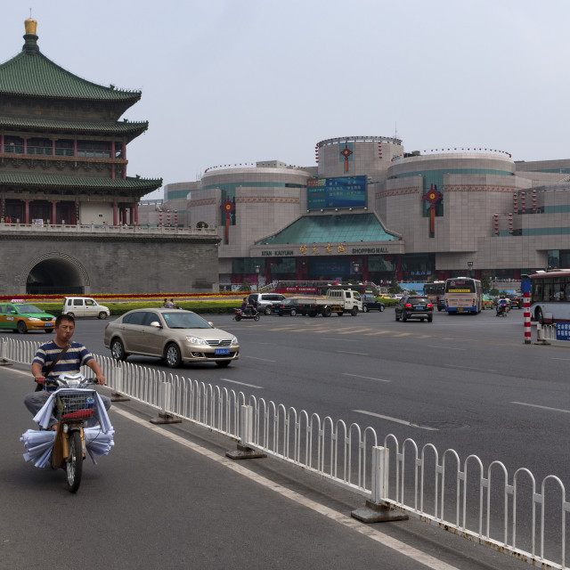 """Xian, China - August 5, 2012: View of the Bell Tower and traffic in the city of Xian in China"" stock image"