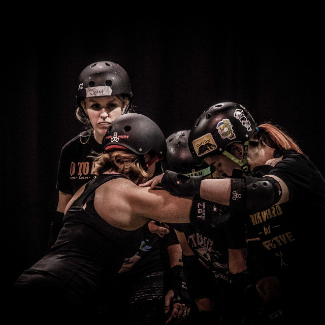 """""""Caravaggio-esque roller derby"""" stock image"""