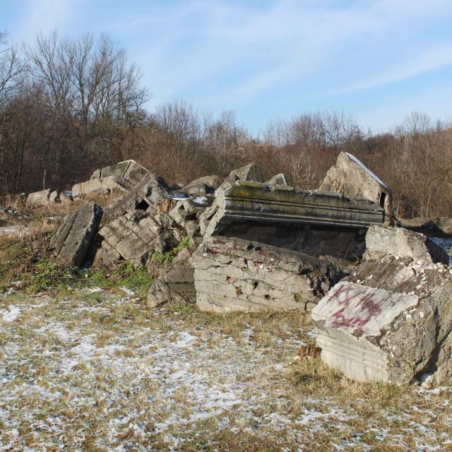 """""""Kraków: Ruins in Płaszów concentration camp"""" stock image"""