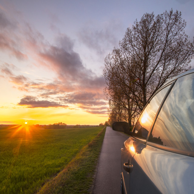 """car driving on a German country road"" stock image"