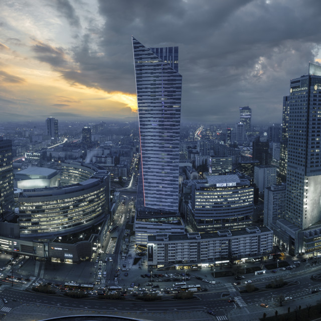 """Warsaw, Poland-December 2016: Center of Warsaw seen from above"" stock image"