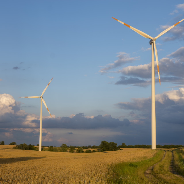 """windmills (wind turbines) in the field during a summer storm"" stock image"