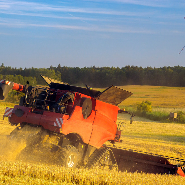 """harvester during harvest time"" stock image"