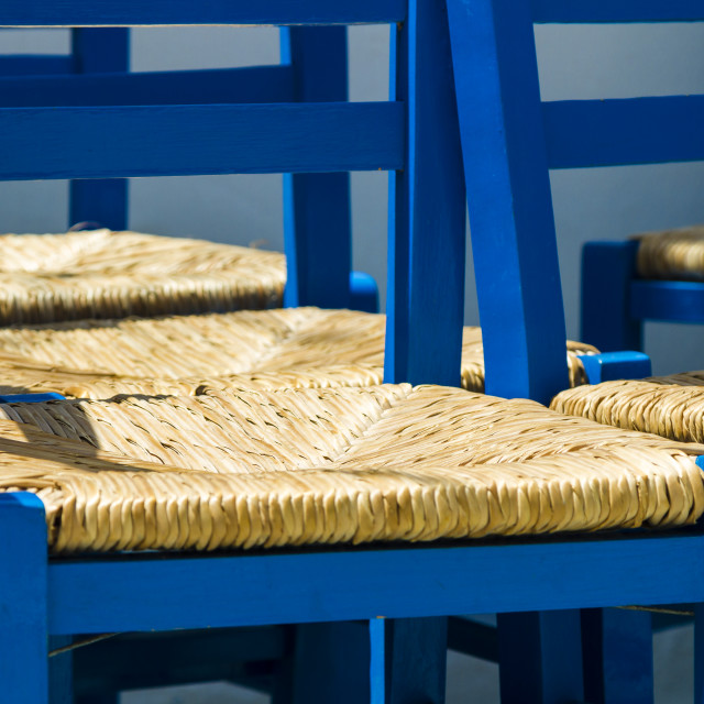 """""""Blue painted chairs"""" stock image"""