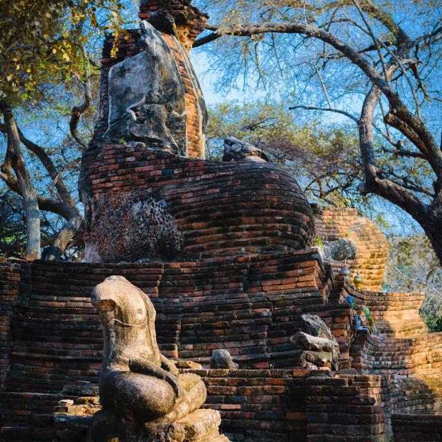 """Damaged statues of Buddha in Wat Phra Si Sanphet, Ayutthaya, Thailand."" stock image"