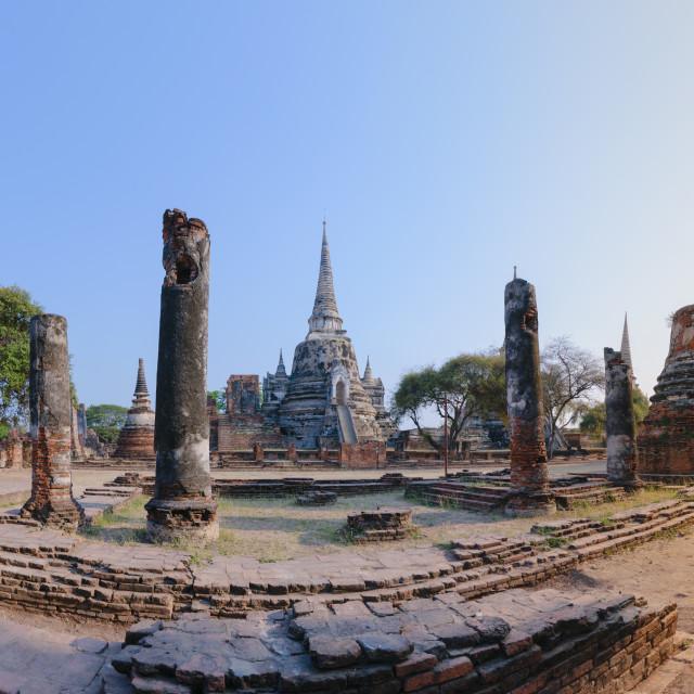 """Panorama of Wat Phra Si Sanphet stupas in Ayutthaya, Thailand."" stock image"