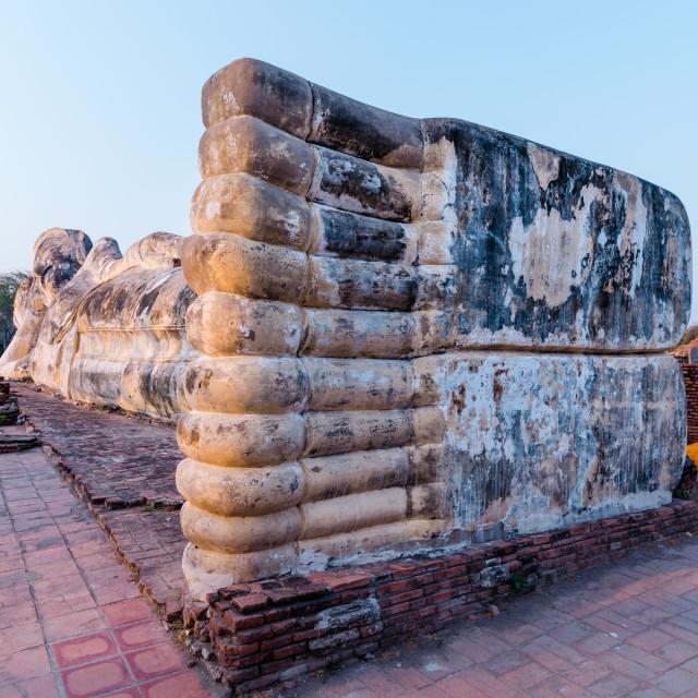 """The joint feet of Reclining Buddha in Wat Lokkayasutharam. Ayutthaya, Thailand."" stock image"